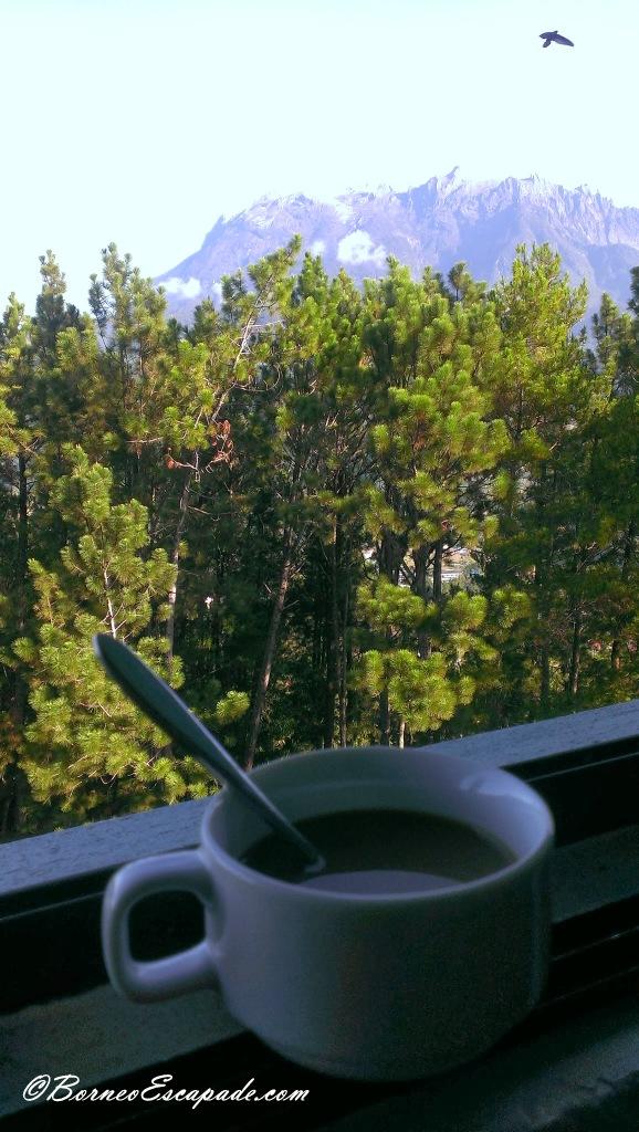 Enjoying nice cup of hot coffee