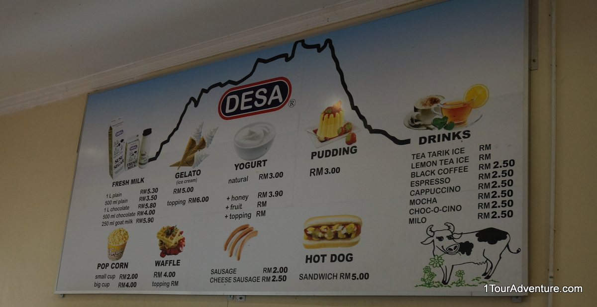 Products with their respective pricing at the farm